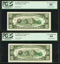 Error Notes:Third Printing on Reverse, Fr. 2024-L $10 1977A Federal Reserve Notes. Two Consecutive Examples. PCGS Very Choice New 64.. ... (Total: 2 notes)