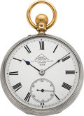 """Timepieces:Pocket (pre 1900) , Dent """"Watchmaker to the Queen"""" Very Fine Silver & Gold KeylessLever Watch, circa 1883. ..."""