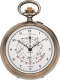 Timepieces:Pocket (post 1900), Ls. Gallopin & Cie Unusual Silver Chronograph With RetrogradeMinute Register, circa 1900. ...