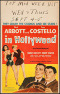"""Movie Posters:Comedy, Abbott and Costello in Hollywood (MGM, 1945). Window Card (14"""" X22""""). Comedy.. ..."""