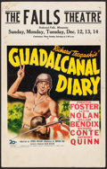 "Movie Posters:War, Guadalcanal Diary (20th Century Fox, 1943). Window Card (14"" X22""). War.. ..."