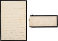 "Autographs:U.S. Presidents, Mary Todd Lincoln Autograph Letter Signed ""Mary Lincoln""Transmittal Cover with Franking Signature. ... (Total: 2 )"