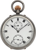 Timepieces:Pocket (pre 1900) , W.B. Crisp London Very Fine Silver Pocket Chronometer With UnusualRotating Wind Indicator Subsidiary Dial, circa 1890. ...