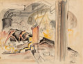Works on Paper, Thomas Hart Benton (American, 1889-1975). Steel Workers Poking Rod into Furnace, 1928. Watercolor, ink, and pencil on pa...