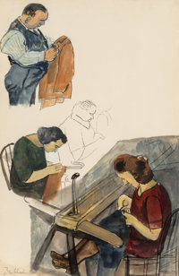 Ben Shahn (American, 1898-1969) Sweat Shop, 1936 Watercolor, gouache, and ink on paper 17-1/2 x 1