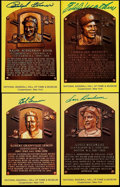 Autographs:Index Cards, Baseball Greats Signed HOF Plaque Postcards Collection (4). ...