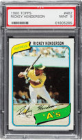 Baseball Cards:Singles (1970-Now), 1980 Topps Rickey Henderson #482 PSA Mint 9....