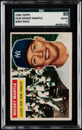Baseball Cards:Singles (1950-1959), 1956 Topps Mickey Mantle (Gray Back) #135 SGC 50 VG/EX 4....