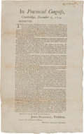 Miscellaneous:Broadside, Extremely Rare and Important 1774 Broadside, Signed in Print by John Hancock....