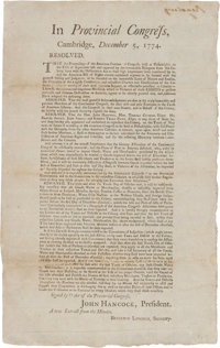 Extremely Rare and Important 1774 Broadside, Signed in Print by John Hancock