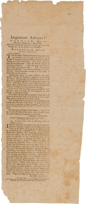 Lexington & Concord: An Exceedingly Rare and Important Contemporary Broadside Reporting on the Events Which Igni...