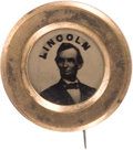 Political:Ferrotypes / Photo Badges (pre-1896), Abraham Lincoln: Scarce Ferrotype Badge....