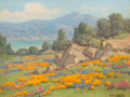 Fine Art - Painting, American:Modern  (1900 1949)  , William Franklin Jackson (American, 1850-1936). Coastal Viewwith Poppies and Lupine. Oil on canvas laid on board. 8 x 1...