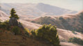 Fine Art - Painting, American:Modern  (1900 1949)  , Ludmilla Pilat Welch (American, 1867-1925). Cattle Grazing inSunlit Hills. Oil on board. 10 x 18 inches (25.4 x 45.7 cm...