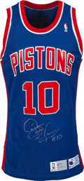 Basketball Collectibles:Uniforms, 1991-92 Dennis Rodman Game Worn, Signed Detroit Pistons Jersey fromThe Chuck Daly Estate. ...