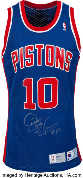 new arrival 51436 83b96 1991-92 Dennis Rodman Game Worn, Signed Detroit Pistons ...