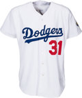 Baseball Collectibles:Uniforms, 1996 Mike Piazza Game Worn Los Angeles Dodgers Jersey....