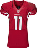 Football Collectibles:Uniforms, 2015 Larry Fitzgerald Game Worn, Unwashed Arizona Cardinals Jersey - Used 1/3 vs. Panthers Playoff Game (Photo Matched)....