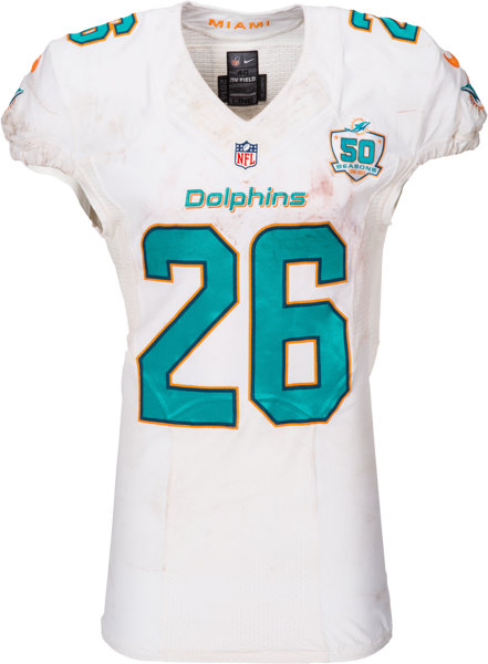 finest selection 29d01 034ab 2015 Lamar Miller Game Worn, Unwashed Miami Dolphins Jersey - Used 11/22  vs. Cowboys. ...