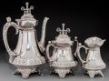 Silver Holloware, American:Coffee Pots, A Three-Piece Wood & Hughes Silver Coffee Set, New York, circa1885. Marks: W&H, STERLING. 11-1/2 inches high (29.2 cm)... (Total: 3 Items)