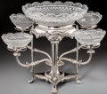 Silver Holloware, British:Holloware, A George III-Style Silver-Plated and Cut-Glass Epergne, 19thcentury. 13-1/2 inches high x 21-1/4 inches wide (34.3 x 54.0 c...