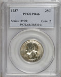 Proof Washington Quarters: , 1937 25C PR66 PCGS. PCGS Population (325/83). NGC Census:(213/101). Mintage: 5,542. Numismedia Wsl. Price for NGC/PCGScoi...