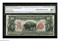 Large Size:Legal Tender Notes, Fr. 114 $10 1901 Legal Tender CGA Gem Uncirculated 67. A gorgeousBison, with broad, even margins, spectacular color and obv...