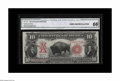 Large Size:Legal Tender Notes, Fr. 122 $10 1901 Legal Tender CGA Gem Uncirculated 66. A handsomeBison, with broad margins, bright colors and excellent eye...