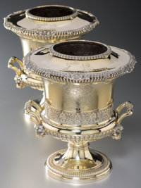 A Fine Pair of Paul Storr Silver-Gilt Wine Coolers for Rundell, Bridge & Rundell, London, 1813 Marks to bodies: (l...