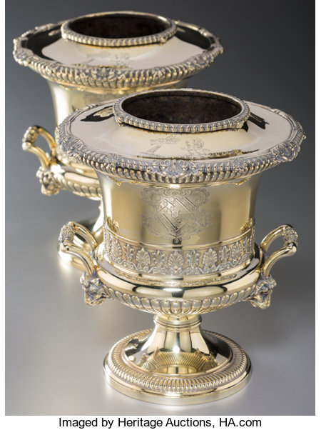 A Fine Pair of Paul Storr Silver-Gilt Wine Coolers for Rundell, Bridge & Rundell, London, 1813 Marks to bodies: (lion passa... (Total: 2 )