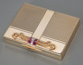 Silver Smalls, A Tiffany & Co. Art Deco 14K Gold, Ruby and Diamond Compact,New York, circa 1930. Marks: TIFFANY & CO., 14K. 0-5/8 hx ...