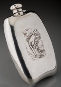 Silver Holloware, American:Flasks, An Unger Brotherss Art Nouveau Silver Flask, circa 1900 . Marks:STERLING, 925 FINE. 7-1/2 inches high x 4-1/2 inches wi...