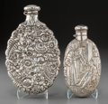 Silver Holloware, American:Flasks, An R. Wallace & Sons Silver Drunken Friar Flask with Tiffany& Co. Silver Floral Repoussé Flask, New York, late 19th-early2... (Total: 2 Items)
