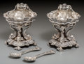Silver Holloware, British, A Pair of Robert Frederick Fox George V Silver Figural Open Saltsand Spoons, London, 1910. Marks: (lion passant), (leopard'...(Total: 4 Items)
