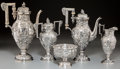 Silver Holloware, American:Tea Sets, A Five-Piece Baltimore Silversmith's Mfg. Co. Silver RepousséLandscape Tea and Coffee Service, Baltimore, Maryl...(Total: 5 Items)
