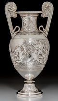 Silver & Vertu:Hollowware, A John Samuel Hunt Neoclassical Victorian Silver Two-Handled Vase, London, 1863. Marks: (lion passant), (leopard's head), (d...