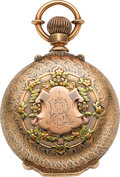 Timepieces:Pocket (post 1900), Waltham P.S. Bartlett Massive Gold Multicolor Box Hinge HuntersCase, circa 1902. ...