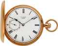 Timepieces:Pocket (pre 1900) , E.J. Dent Fine 18k Gold Hunters Case With Duplex Escapement, circa1868. ...