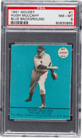Baseball Cards:Singles (1940-1949), 1941 Goudey Hugh Mulcahy (Blue) #1 PSA NM-MT 8 - The Highest Graded Example! ...
