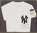 Baseball Collectibles:Uniforms, 1990's Mickey Mantle Signed & Inscribed New York YankeesJersey....