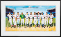 Baseball Collectibles:Others, 1988 500 Home Run Poster by Ron Lewis Signed by 11....