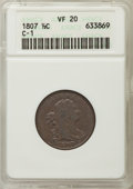 Half Cents: , 1807 1/2 C VF20 ANACS. PCGS Population: (15/269). CDN: $185 Whsle.Bid for problem-free NGC/PCGS VF20. M...