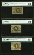Fractional Currency:Group Lots, Second Issue Fractionals PMG Graded.. Fr. 1245 10¢ About Uncirculated 55;. Fr. 1285 25¢ About Uncirculated 50;. Fr. 13... (Total: 3 notes)