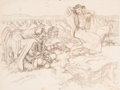 Works on Paper, Dean Cornwell (American, 1892-1960). The Big Fisherman, book illustration preliminary study, 1951. Charcoal and crayon o...