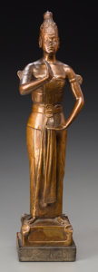 Sculpture, Carel Wirtz (American, 1884-1944). Javanese Dancer, circa 1916. Bronze with golden brown patina. 12-1/4 inches (31.1 cm)...