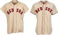 Baseball Collectibles:Uniforms, 1946 & 1948 Boston Red Sox Game Worn Jerseys Lot of 2....