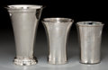 Silver Holloware, Continental, Three Silver Beakers including One Hanau Example, 19th century.Marks: (effaced). 6-1/2 inches high (16.5 cm) (tallest). 24....(Total: 3 Items)