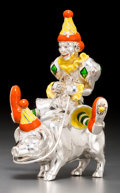 Silver Smalls, A Two-Part Tiffany & Co. Silver and Enamel Circus Clown on aPig, Designed by Gene Moore, New York, circa 1990. Marks: TIF...(Total: 2 Items)