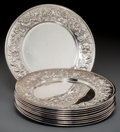 Silver Holloware, American:Plates, Ten S. Kirk & Son Silver Repoussé Bread and Butter Plates,Baltimore, Maryland, circa 1932-1979. Marks: S. KIRK & SON,STE... (Total: 10 Items)