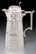 Silver Holloware, British:Holloware, A Walter & Charles Sissons Victorian Silver and Cut-GlassClaret Jug, Sheffield, 1895. Marks: (lion passant), (crown),WSG...